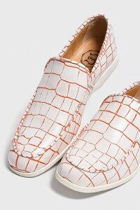 レザーローファー クロコダイル型押しホワイト×ラインオレンジ 国産 革靴 紳士靴 牛革 BajoLugo バジョルゴ No-2-3-1706-40