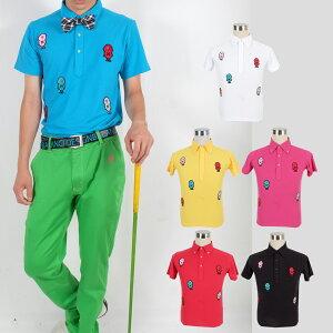 UV90%MOJAワッペンポロシャツ/S〜4Lドクロポロシャツ【夏新作】【メンズ】【ゴルフウェア】大きいサイズ/golf/限定/お洒落/