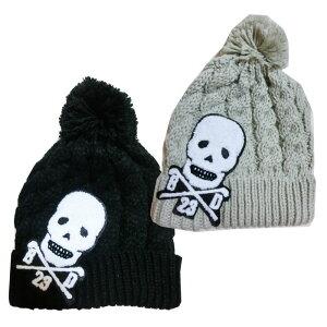 真冬 スカルニットボンボン帽子キャップ【数量限定】【ゴルフ】大きいサイズ/帽子/キャップ/CAP/GOLF