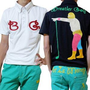 SALE!レスラー総柄刺繍/ポロシャツ/M〜5L/BIGサイズ【夏新作】【メンズ】【ゴルフウェア】大きいサイズgolf/限定/お洒落/