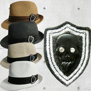 大きいサイズ61cm/スカルワッペ/麦わらハット帽子キャップ【数量限定】【ゴルフ】大きいサイズ/帽子/キャップ/CAP/GOLF