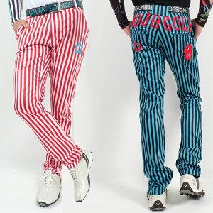 夏新作w30〜w44/ストライプ柄パンツ/刺繍/MOJAGOLF/伸びる素材【夏新作】【メンズ】【ゴルフウェア】ズボン パンツ 男性 BALANCEDESIGN 大きいサイズ