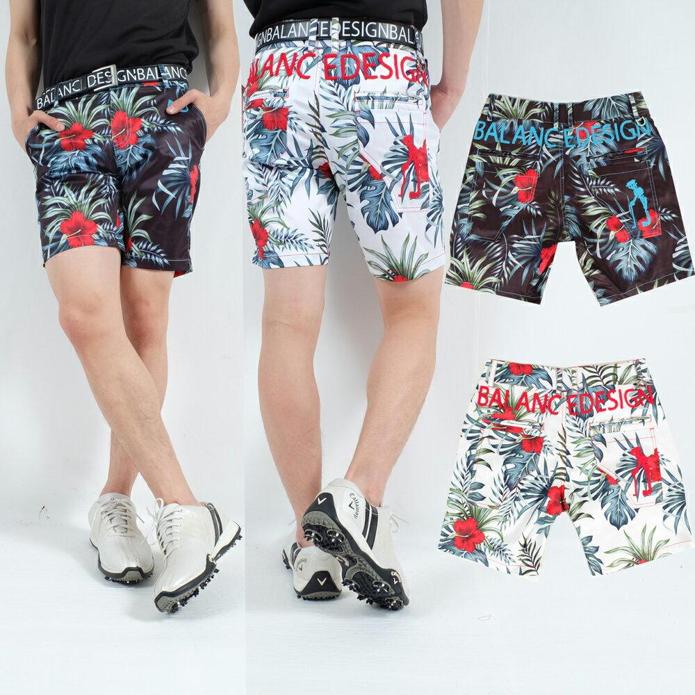 夏新作w30〜w46/ハイビスカスハーフパンツ/刺繍/MOJAGOLF/伸びる素材【夏新作】【メンズ】【ゴルフウェア】ズボン パンツ 男性 BALANCEDESIGN 大きいサイズ
