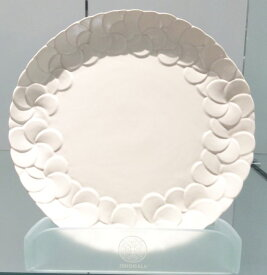 【Jenggala・ジェンガラ】◆フランジパニ丸皿(縁取り)ホワイト直径23cm◆(アジアン食器・洋食器・卓上テーブルアイテム・バリプレミアム)