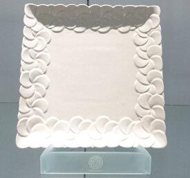 【Jenggala・ジェンガラ】◆フランジパニ角皿(縁取り)ホワイト26cm角◆(アジアン食器・お皿・卓上テーブルアイテム・バリプレミアム)