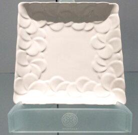 【Jenggala・ジェンガラ】◆フランジパニ角皿(縁取り)ホワイト17cm角◆(アジアン食器・お皿・卓上テーブルアイテム・バリプレミアム)