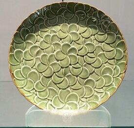 【Jenggala・ジェンガラ】◆フランジパニ丸皿(全面)グリーン直径29cm◆(アジアン食器・洋食器・卓上テーブルアイテム・バリプレミアム)