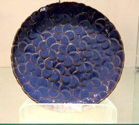 【Jenggala・ジェンガラ】◆フランジパニ丸皿(全面)ブルー直径23cm◆(アジアン食器・洋食器・卓上テーブルアイテム・バリプレミアム)