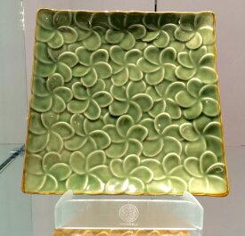 【Jenggala・ジェンガラ】◆フランジパニ角皿(全面)グリーン26cm角◆(アジアン食器・お皿・卓上テーブルアイテム・バリプレミアム)