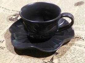 【Jenggala・ジェンガラ】◆ティーカップ&ソーサーセットロータス ブラック◆(アジアン食器・洋食器・卓上テーブルアイテム・バリプレミアム)