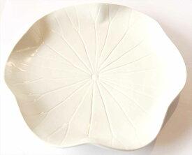 【Jenggala・ジェンガラ】◆ロータス 平皿 Lサイズ ホワイト◆(アジアン食器・洋食器・卓上テーブルアイテム・バリプレミアム)