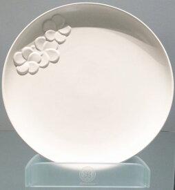 【Jenggala・ジェンガラ】◆フランジパニ丸皿(ワンポイント)ホワイト直径28cm◆ (アジアン食器・お皿・卓上テーブルアイテム・バリプレミアム)