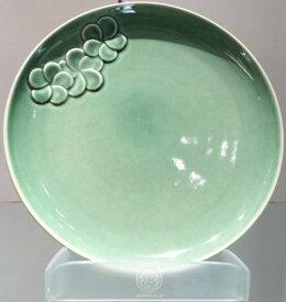 【Jenggala・ジェンガラ】◆フランジパニ丸皿(ワンポイント)エメラルド直径28cm◆(アジアン食器・洋食器・卓上テーブルアイテム・バリプレミアム)