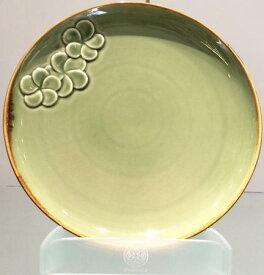 【Jenggala・ジェンガラ】◆フランジパニ丸皿(ワンポイント)グリーン直径28cm◆(アジアン食器・洋食器・卓上テーブルアイテム・バリプレミアム)