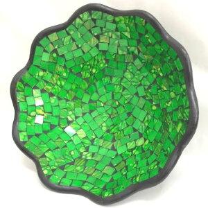 ◆ガラスモザイク 波形皿 グリーン◆【飾り皿・小物トレイ・トレー)