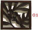 ◆バリの木彫り壁飾り◆〜フランジパニ&モンステラ〜【フラワー・花・カービング・レリーフ】【彫刻・ハンドメイド】…
