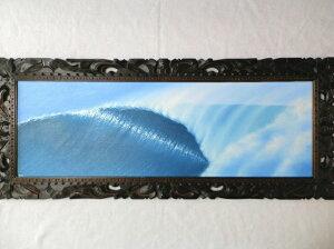 バリ島の絵画 波の絵 103×43cm (E-12) 【 バリ絵画 海の絵 アートパネル 額 フレーム付き サーフィン ハワイアン サーファー 風水 アジアン 南国 海 リゾート 大型】