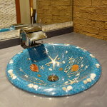 アジアン雑貨バリ島製シェル入り洗面ボウル直径約40cm/水色