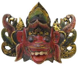 木製バロンマスク20cm(お面)赤【バリ・アジアン雑貨バリパラダイス】