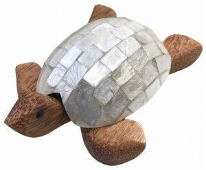 カメのシェル灰皿モザイク白タイプ【バリ・アジアン雑貨バリパラダイス】