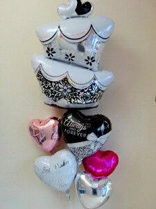 【結婚式専用】ウェディングケーキ(Mサイズ)バルーン電報(祝電) 結婚式のお祝い・装飾に♪