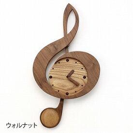 木製振子時計ト音記号ウォールナット,ピアノ発表会プレゼント