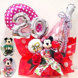 バルーン 成人祝い ディズニー ミッキー ミニー 振りそで 袴 ぬいぐるみ ぬいぐるみバッチ 成人式 お祝い プレゼント ギフト
