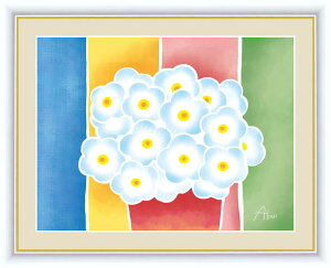 絵画 額入りアート インテリア 壁掛け 「青い花の鉢植え」 F6 <送料無料> インテリア モダンアート アートパネル アート おしゃれ リビング 玄関 引っ越し祝い 引越 ギフト プレゼント 事
