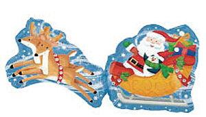 サンタ&スレイ ヘリウムなし5枚入風船 バルーン 誕生日 パーティー 結婚式 プレゼント 開店祝い クリスマス 飾りかわいい おしゃれ ふうせん キャラクター バースデー