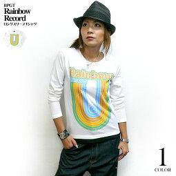 RainbowRecord(レインボーレコード)ロングスリーブTシャツ-BPGT-sp028lt-G-虹音楽ミュージックポップロックかわいいカジュアルオリジナルロンT長袖カットソーメンズレディースユニセックスホワイト白Tシャツ屋さんバンビ【RCP】