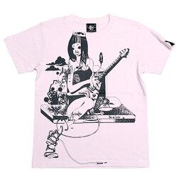 ギターガールTシャツ(ライトピンク)bastergreatbg003tee-lp-Z完-桃色半袖teeギタリストロックTシャツガールズバンドかっこかわいいイラストプリントメンズレディース大きいサイズコットン綿100%バスターグレード【RCP】