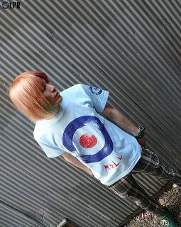 ROLL(ロール)Tシャツ(ライトブルー)-LPR-a08tee-lbu-Z完-青半袖ターゲットモッズバンドTシャツロックTシャツレコードアナログ盤プリントカジュアルメンズレディースペアユニセックス大きいサイズ春夏秋服コーデコットン綿100%【RCP】