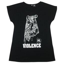 VIOLENCE(バイオレンス)Tシャツワンピース-pi009opt-Z完-ワンピTシャツ半袖TeeゾンビスケボーパンクロックTシャツバンドTシャツカジュアルコーデアメカジおしゃれかわいいレディースガールズブラック黒色Mサイズオリジナルブランド【RCP】