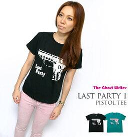 Last Party 1「Pistol」Tシャツ -The Ghost Writer tgw011tee-Z完- 半袖 パンクロックTシャツ 拳銃 ピストル グラフィック アメカジ カジュアル かっこいい メンズ レディース ユニセックス ブラック グリーン 黒緑色 コットン綿100%【RCP】