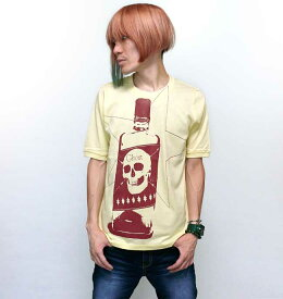 Whiskey Ghost 1/2スリーブ Tシャツ - tgw032hst -Z完- 半袖 パンクロック ドクロ柄 スカルTシャツ 髑髏 骸骨 ウィスキー ボトル お酒 グラフィック アメカジ カジュアル おしゃれ カットソー メンズ レディース ユニセックス イエロー 黄色 コットン綿100%
