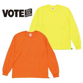 VOTE MAKE NEW CLOTHES ヴォートメイクニュークローズDRAWCORD L/S TEE ドローコード ロングスリーブティーシャツ T-SH ユニセックス カジュアル カットソー スケーター シンプル 無地 フェス フジロック ネオンカラー