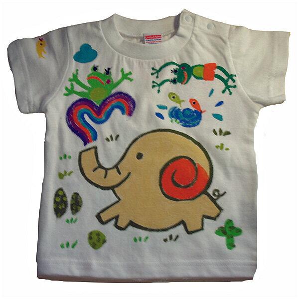 名入れTシャツ出産祝い 子供服 名入れ虹象と蛙Tシャツ