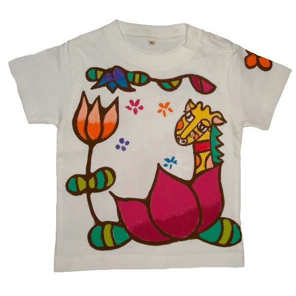名入れTシャツ出産祝い 子供服 名入れ 蓮きりんTシャツ ホワイト