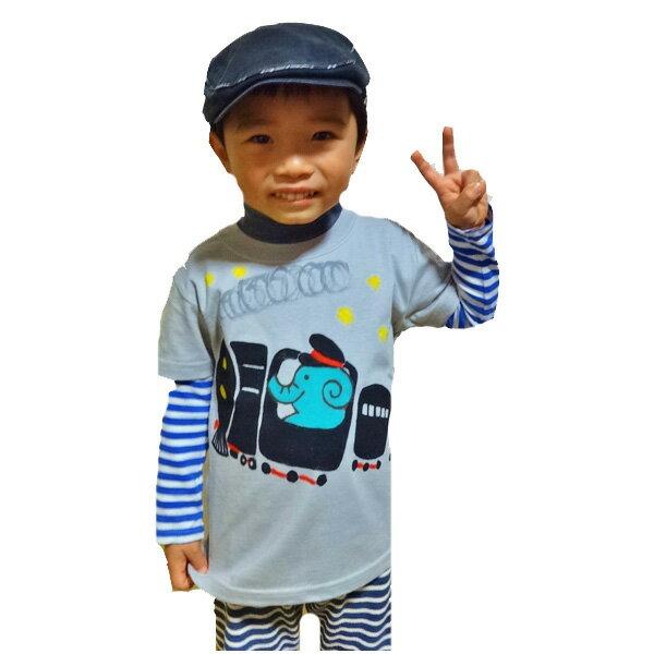 名入れTシャツ出産祝い 子供服 名入れ機関車ぞうTシャツ