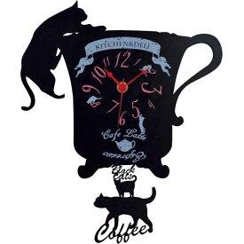 ディアキャッツ 猫カフェシリーズ 壁掛け振り子時計 G-1174BK メーカ直送品  代引き不可/同梱不可