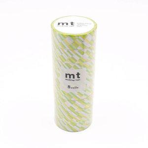 mt マスキングテープ 8P ブロックストライプ・グリーン MT08D439 メーカ直送品  代引き不可/同梱不可