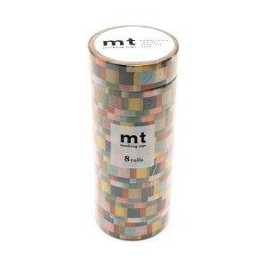 mt マスキングテープ 8P モザイク・グレイッシュ MT08D177 メーカ直送品  代引き不可/同梱不可