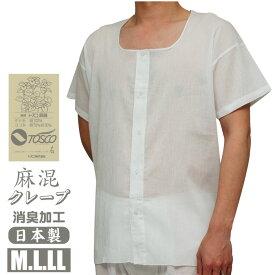M/L/LL綿麻(トスコ)高級クレープ消臭前釦シャツ【日本製】1枚ならメール便選択可