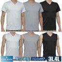 3L.4LTシャツ メンズ 無地 ドライ 吸水速乾 ストレッチ メンズ 半袖V首 V首スリーブレス 【メール便対応可能】