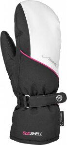 セール 17-18 ロイシュ (4531618-748) レディススキー手袋 ALICE GTX MITTEN ブラック/ホワイト/ピンクグロー (K)