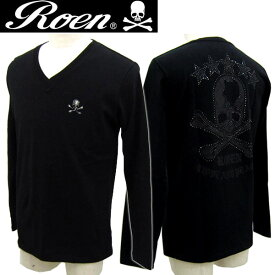 Roen ロエン Black Swaro V-neck L T ブラックスワロVネックロングTシャツ メンズ 72147093 スカル【3980円以上購入で送料無料 セール】