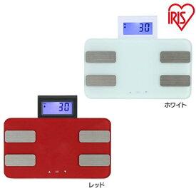 体重体組成計 WBCM-6C レッド ホワイト アイリスオーヤマ アイリス 体重計 体脂肪 体組成計 体重 ダイエット 健康 健康管理 送料無料 シンプル コンパクト 白 赤 健康維持