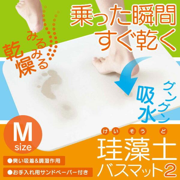 珪藻土バスマット2 Mサイズ HBM-001 足ふきマット 脱衣所 お風呂 吸水 HIRO 【D】