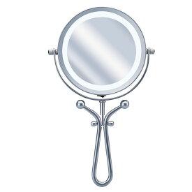 拡大鏡 シルバー KBE-3030-Sメイク鏡 ミラー 理美容 拡大ミラー 5倍 LEDライト 明るい KOIZUMI 化粧 マスカラ 小泉成器 【D】
