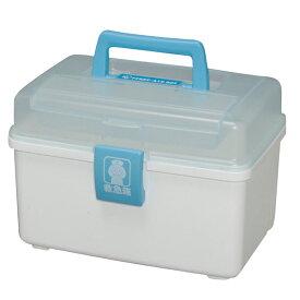 救急箱 プラスチック 外傷薬用 QB-180 クリアブルー ホワイト 救急ボックス かわいい 軽量 軽い 家庭常備薬 整理 小物 備え ボックス 救急セット シンプル コンパクト おしゃれ 救急 絆創膏入れ ばんそうこう入れ BOX 救急BOX 送料無料
